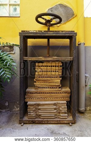 Old Press For Cigars In Garachico, Tenerife. Old-fashioned Handmade Way To Make Cigars.