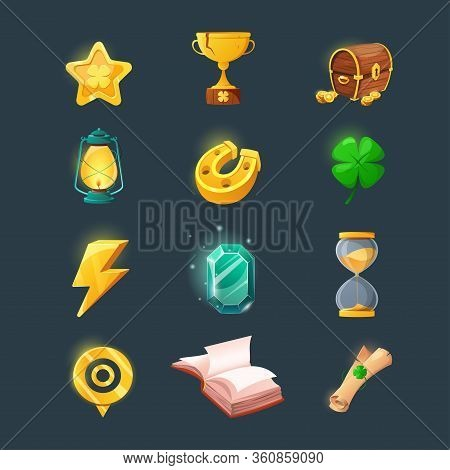 Set Of Various Items For Game User Interface Design. Cartoon Magic Items And Resources For A Fantasy