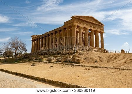 Tempio Della Concordia In Valley Of The Temples Near Agrigento, Sicily, Italy With Shadows In Early