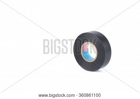 Black Insulating Tape To Insulate Twisted Of Electrical Wires. Insulating Tape Isolated On White Bac