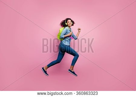 Full Length Profile Side Photo Of Cheerful Afro American Girl College Student Jump Run Hurry Lecture