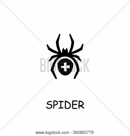 Spider Flat Vector Icon. Hand Drawn Style Design Illustrations.