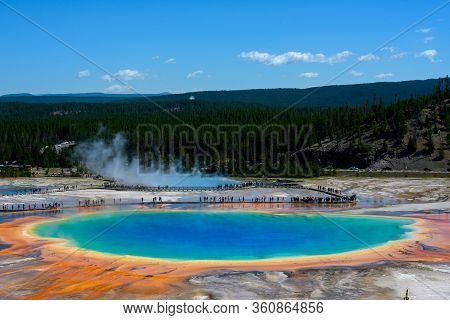 Large Crowd Around Grand Prismatic Spring In Yellowstone