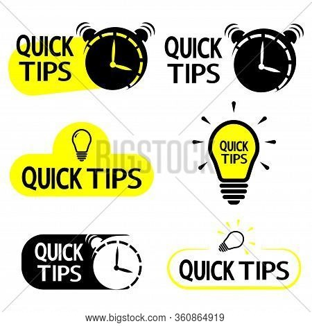 Quick Tips. Yellow Lightbulb Icon With Quicks Tip Text. Helpful Idea, Solution And Trick Illustratio