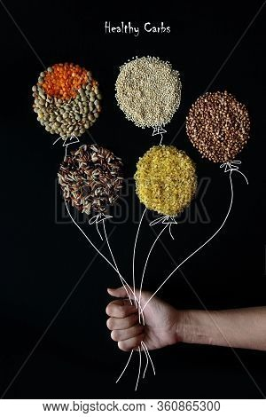 Diet Food Background Concept, Healthy Carbohydrates Carbs Products. Different Cereals And Garnish -