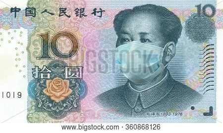 Mao Zedong Portrait From 10 Chinese Yuan Banknote Wearing Protective Mask. 10 Yuan Money Bill With F