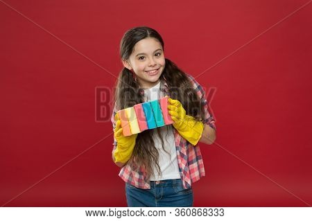 Turn Cleaning Into Game. Inculcate Cleanliness. Cleaning With Sponge. Cleaning Supplies. Girl Rubber