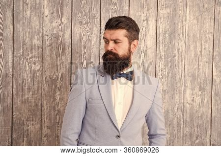 Guy Well Groomed Bearded Hipster Wear Tuxedo. Hairstyle And Beard Grooming. Barber Shop Concept. Gen
