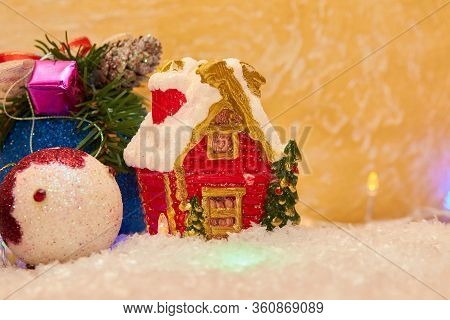 Christmas House Statuette, House Christmas Candle On Artificial Snow For Greeting Card Greeting Back