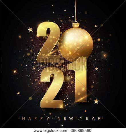 Happy New 2021 Year. Holiday Vector Illustration Of Golden Metallic Numbers 2021. Gold Numbers Desig