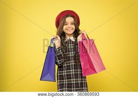 Black Friday. Sale Discount. Shopping Day. Child Hold Package. Favorite Kids Brand. Girl With Shoppi