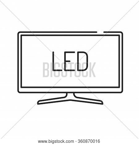 Led Tv Display Black Line Icon. Full High Definition. Lcd Tv With Led Backlight. Pictogram For Web P