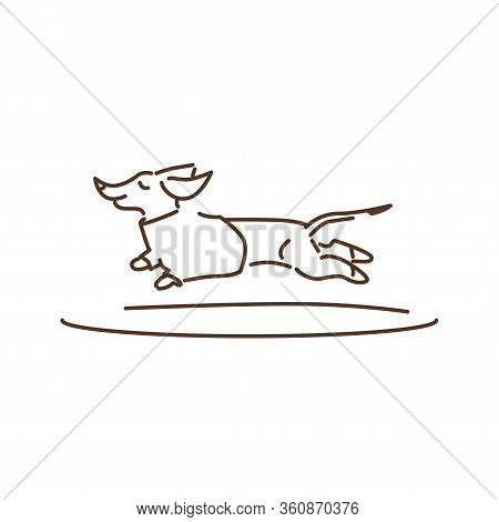 Running Dog Black Line Icon. Pet. Dachshund Breed. Pictogram For Web Page, Mobile App, Promo. Ui Ux