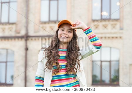 Beauty And Fashion. You Would Not Know Anything Unless You Try. Schoolgirl Wear Cap. Teen In Casual