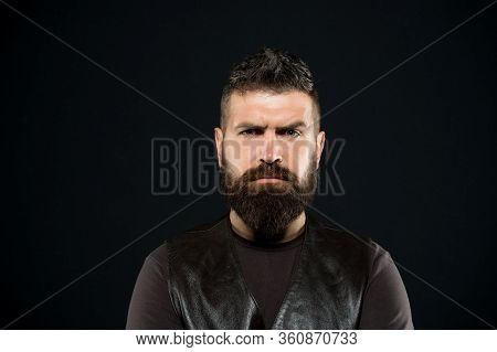 Confidence Makes Man Look His Best. Serious Man Dark Background. Bearded Man With Hipster Hair. Brut