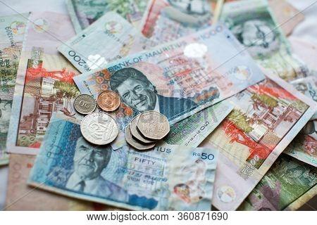 Mauritius Money Mauritius Rupee Notes And Coins Close Up.