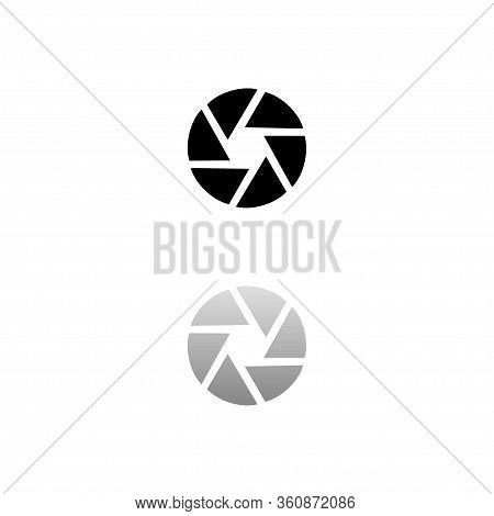 Aperture Diaphragm. Black Symbol On White Background. Simple Illustration. Flat Vector Icon. Mirror