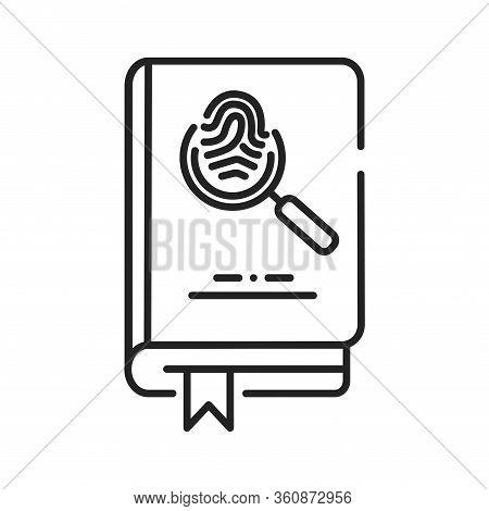 Detective Book Black Line Icon. A Sub-genre Of Crime And Mystery Fiction. An Investigator Investigat