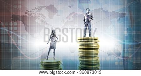 Wealth Inequality with Man Receiving Higher Pay 3D Render