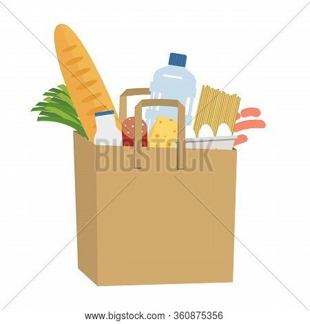 Shopping Bag Full Of Food And Drinks. Food Delivery Concept. There Is A Bread, A Bottle Of Milk, Wat