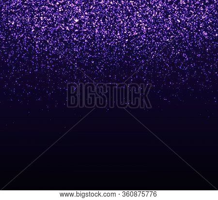 Glowing Sparkles. Falling Abstract Particles. Shining Purple Confetti. Light Effect. Falling Stars.