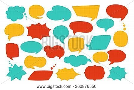 Speech Bubble Patch Cartoon Set. Colorful Fashion Patches Scrapbook Design Elements. Speech And Thou