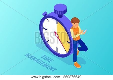 Planning Schedule Time Management With Stopwatch And Man With Tablet Before Deadline Time Isometric