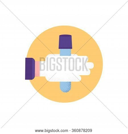 Isolated Glass Tube Test On Hand In Medical Gloves. Covid-19 Test. Blood Samples. Flat Icon. Coronav