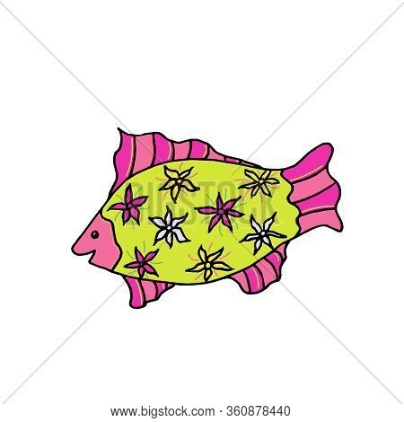 Hand-drawn Multi-colored Vector Fish. Sea Bright Doodle Illustration. Ornamental Fish With Patterns.