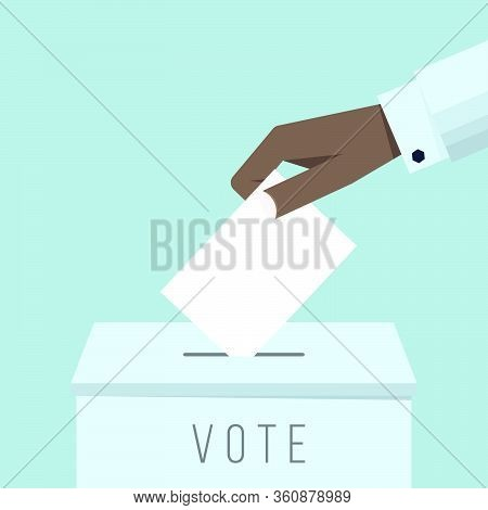 Business Hand Putting A Ballot In A Ballot Box. Vote Concept Flat Drawn Style Vector Design Illustra