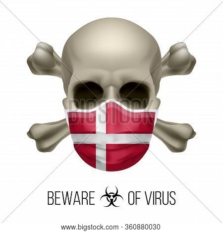 Human Skull With Crossbones And Surgical Mask In The Color Of National Flag Denmark. Mask In Form Of