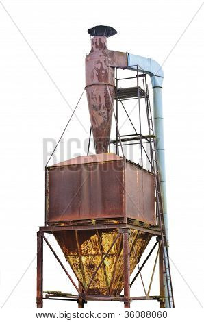 Dust Purification Cyclone Air Vortex Separation Separator, Old Aged Abandoned Weathered Rusty Isolat