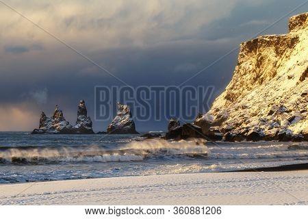 Trolls Fingers Rock, Vik Village, Sunrise In Iceland, Iceland Winter