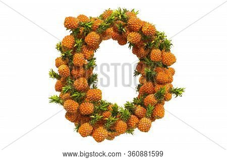Letter O From Pineapples, 3d Rendering Isolated On  White Background