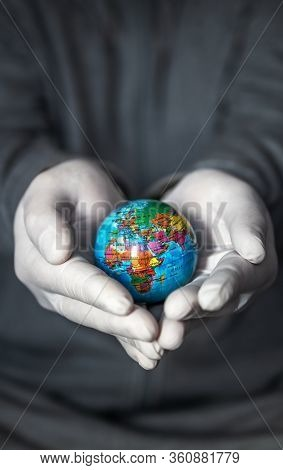 Planet Earth In The Palms, Palms With Medical Gloves, A Healthy Planet, Virus, Coronovirus, Pandemic