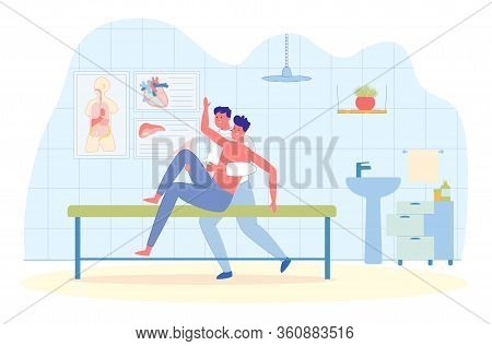 Overweight Mans Personal Workout With Trainer. Gym Interior Background With People Cartoon Character