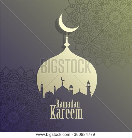 Creative Ramadan Kareem Islamic Mosque Background Vector Design Illustration