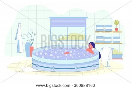 Hydromassage In Special Hot Bath With Bubbles. Client Takes Water Treatments At Spa To Improve Physi