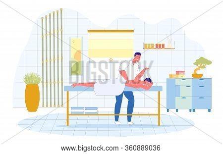 Japanese Shiatsu Therapeutic Massage Technique. Man Employee Professional Spa Salon Do Japanese Mass