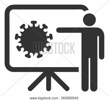 Vector Coronavirus Lecture Flat Icon. Vector Pictograph Style Is A Flat Symbol Coronavirus Lecture I