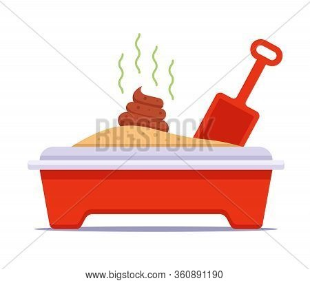 Cat Toilet With Excrement And Spatula. Flat Vector Illustration.
