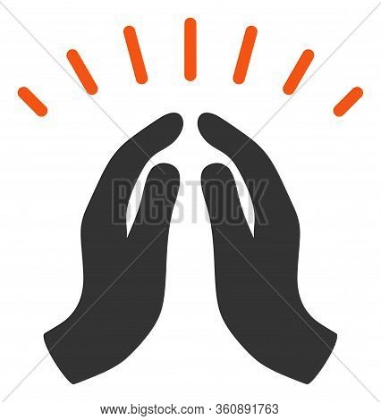 Raster Hope Hands Flat Icon. Raster Pictograph Style Is A Flat Symbol Hope Hands Icon On A White Bac