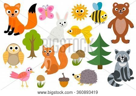 Cute Cartoon Set Of Woodland Animals Isolated On White Background.  Fox And Hedgehog, Owl And Rabbit