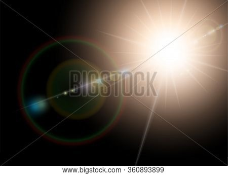 Vector Sunlight Special Lens Flare Light Effect. Sun Flash Shining With Rays And Spotlight. Flares A