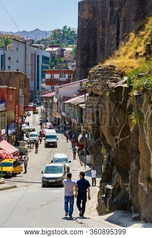 Bitlis, Turkey, 08.24.2014: City And Bitlis Castle View. Everyday Life In The City On The Main Stree