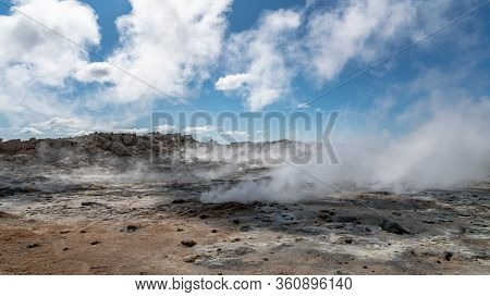 Hverir Myvatn Geothermal Area With Natural Steam Vents And Mud Pools All Around Lake Myvatn, The Hve