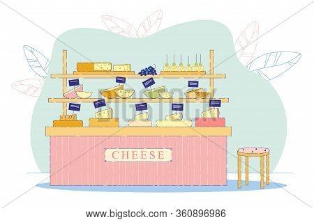 Counter With Quality Cheese Flat Cartoon Vector Illustration. Selling Edam, Maasdam Parmesan, Gouda.