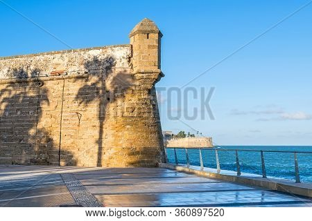 One Of The Bastions Of The San Carlos Wall (murallas De San Carlos) With The Shadow Of Palm Trees An