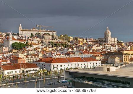 Lisbon, Portugal -  November 7, 2019: Oldest Neighborhood Alfama With Avenida Infante Dom Henrique,