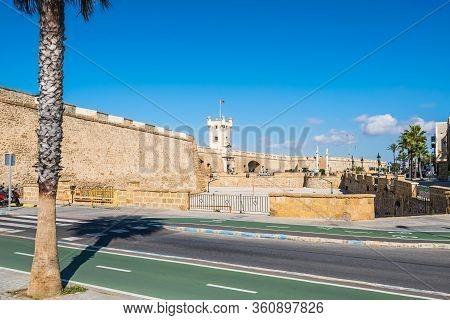 Plaza De La Constitucion With Puertas De Tierra, A Bastion-monument Built Around Remnants Of The Old